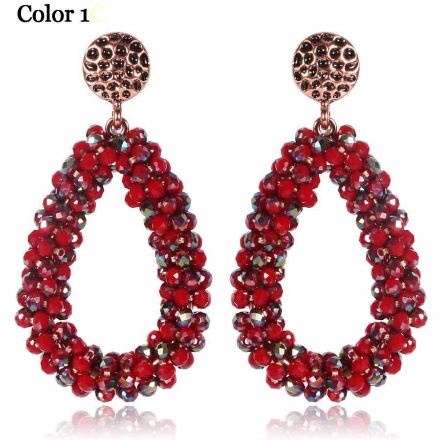 Multi Crystal Loop Drop Earrings