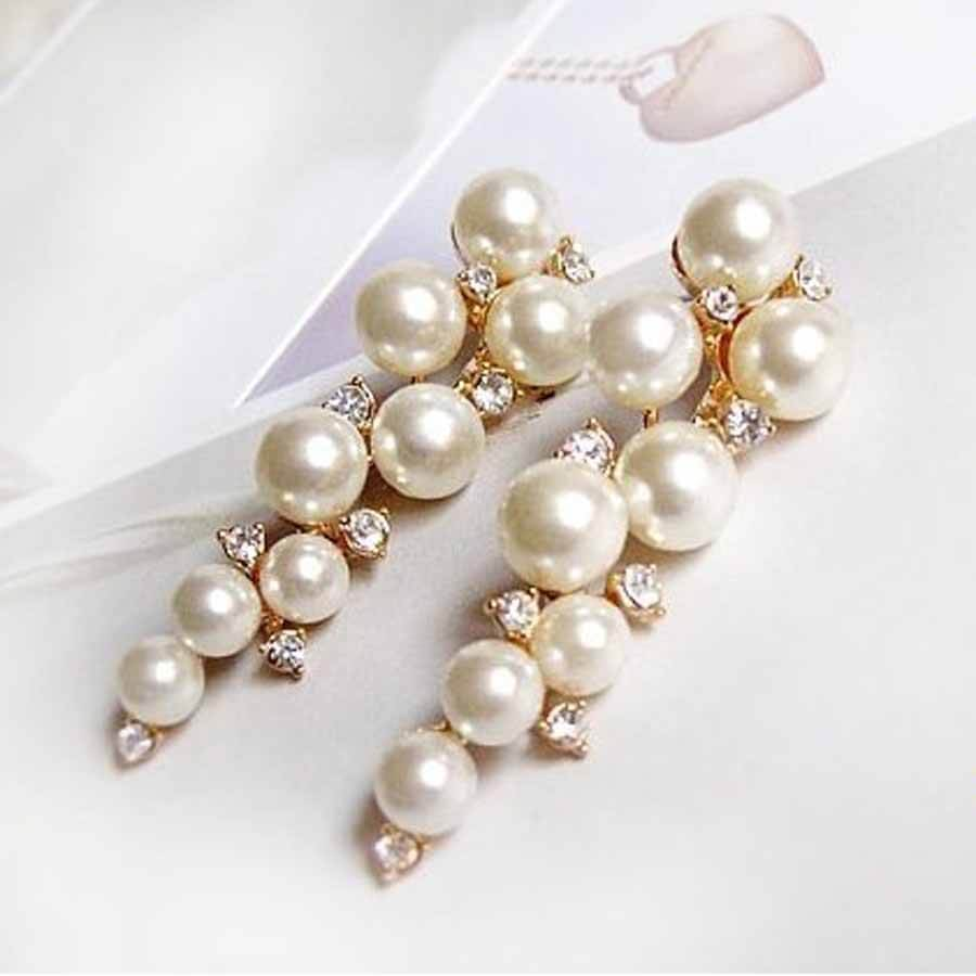 Pearl crystal drop earrings, gold tone