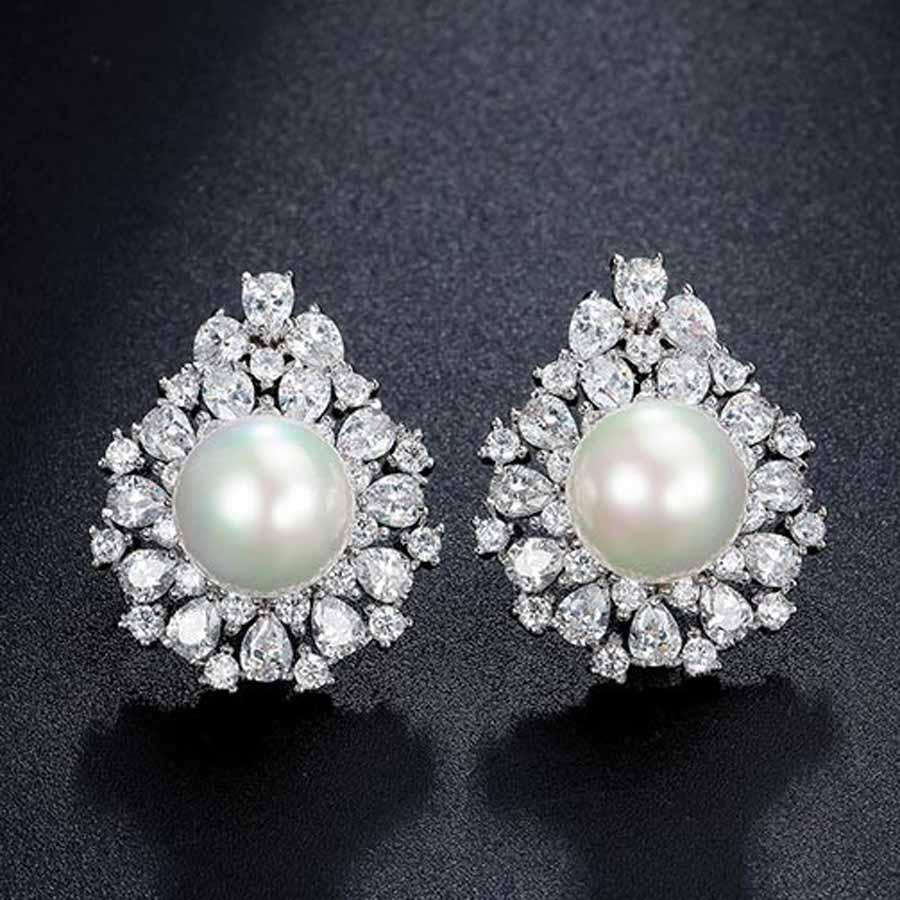 Pearl Earring Cubic Zirconia Stud