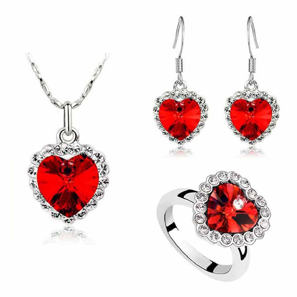 Austrian Crystal Heart Jewelry Set