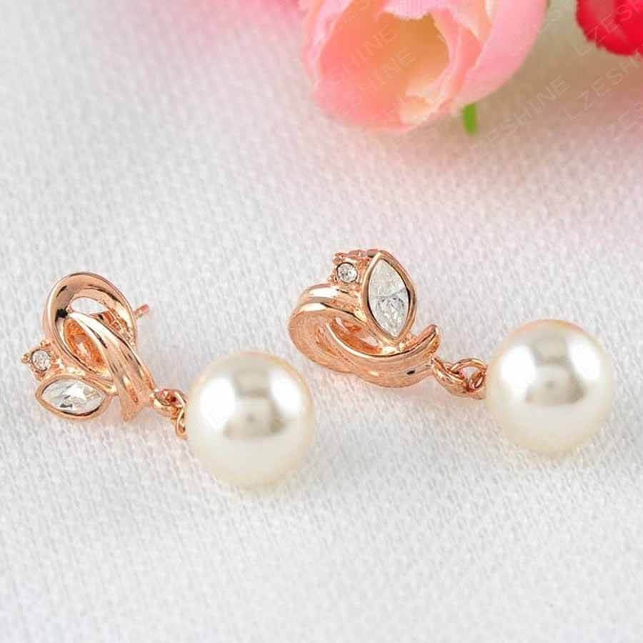 Pearl Earrings Rose Gold