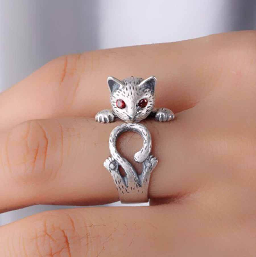 Cute Cat Ring Silver Adjustable Size
