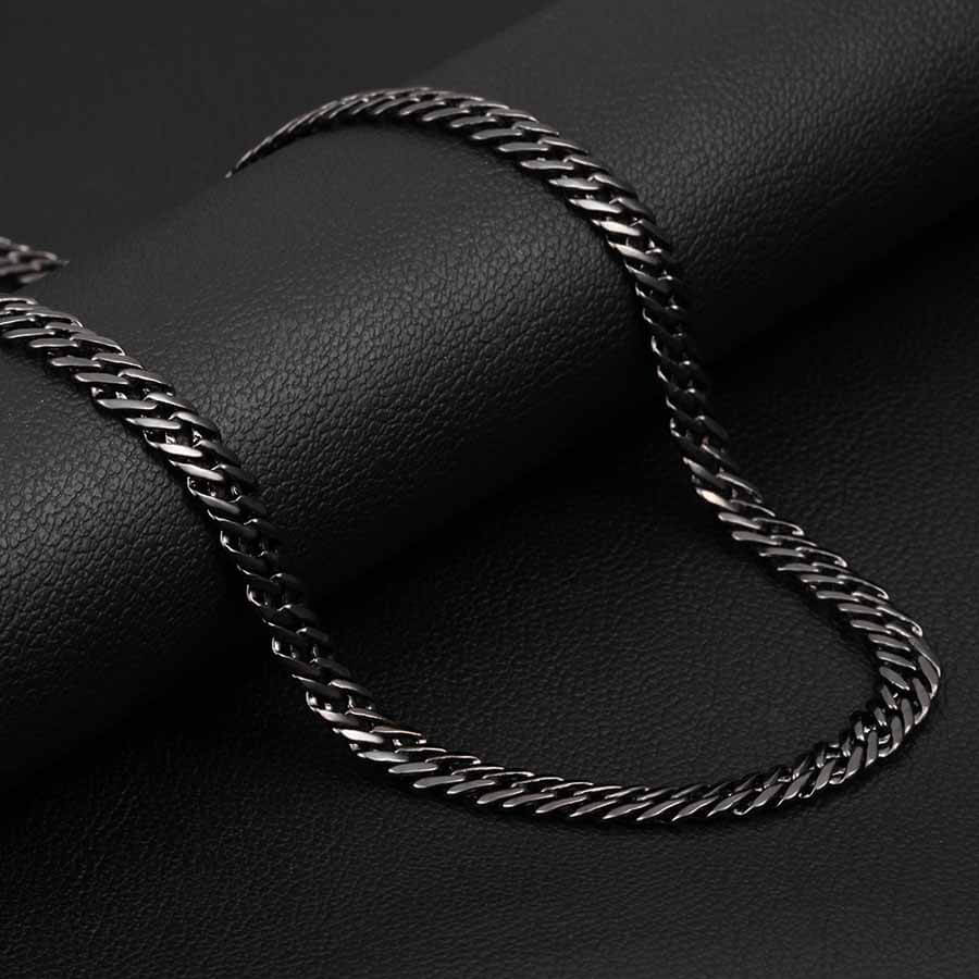 Black Men's Trendy 6 mm Italian Link Neck Chain