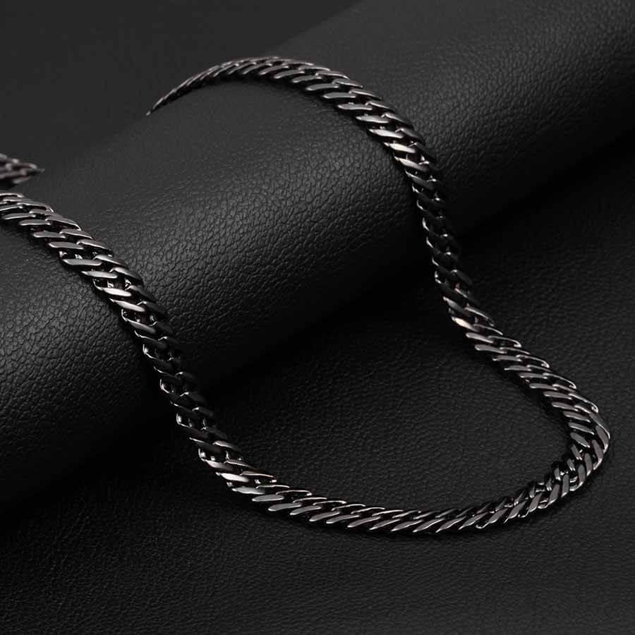 Black Men's Trendy 6 mm Italian Link Neck Chain