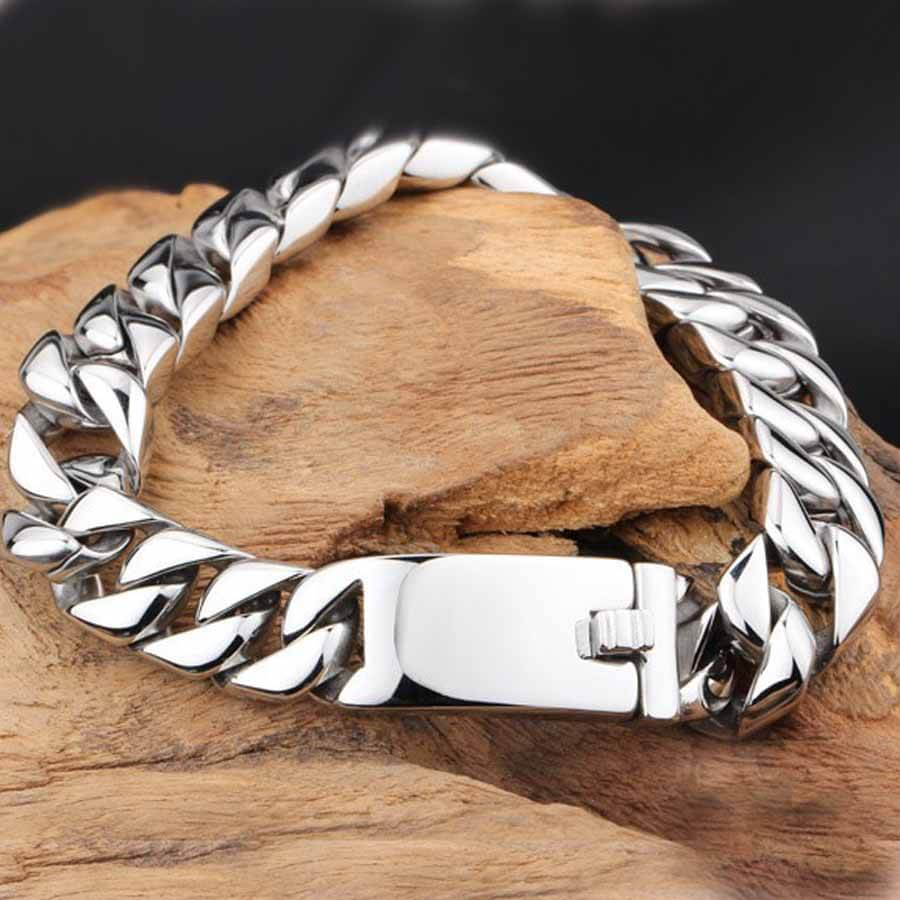 Men's Heavy Stainless Steel Bracelet flat