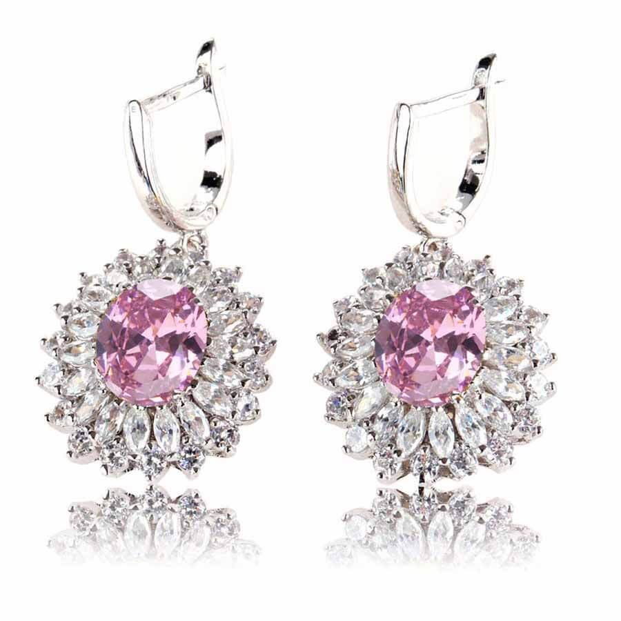 Earrings Silver Plated Pink Cubic Zirconia AAA