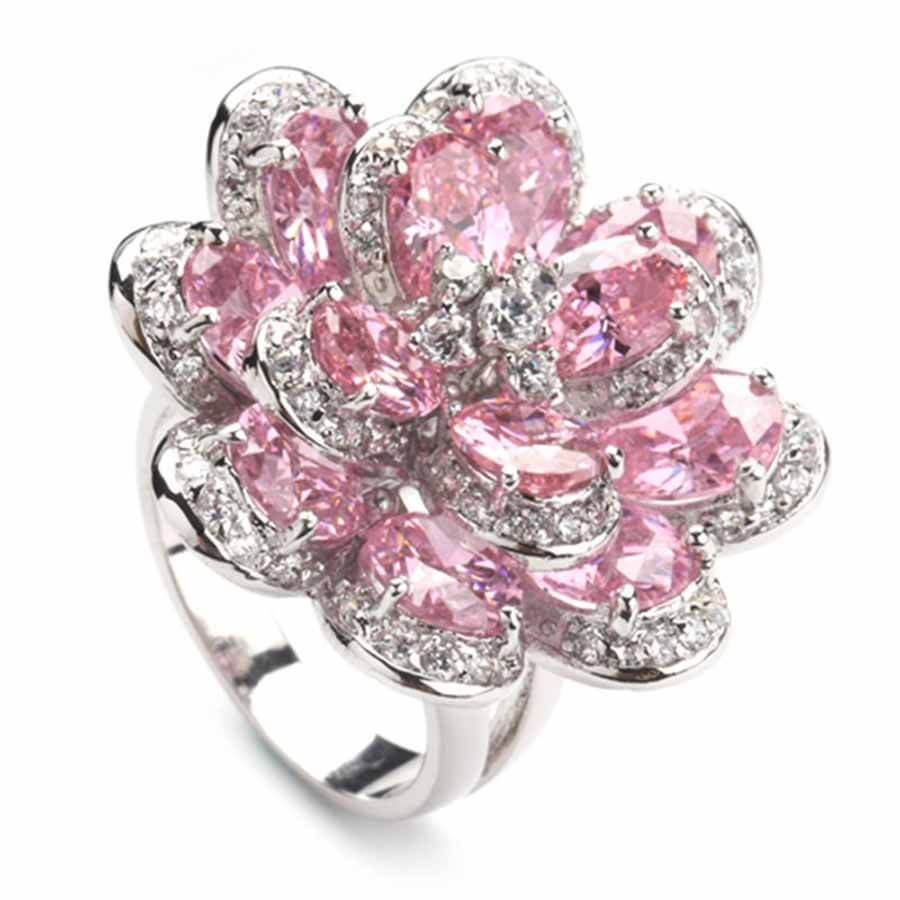 Pink Zircon Ring Silver Plated
