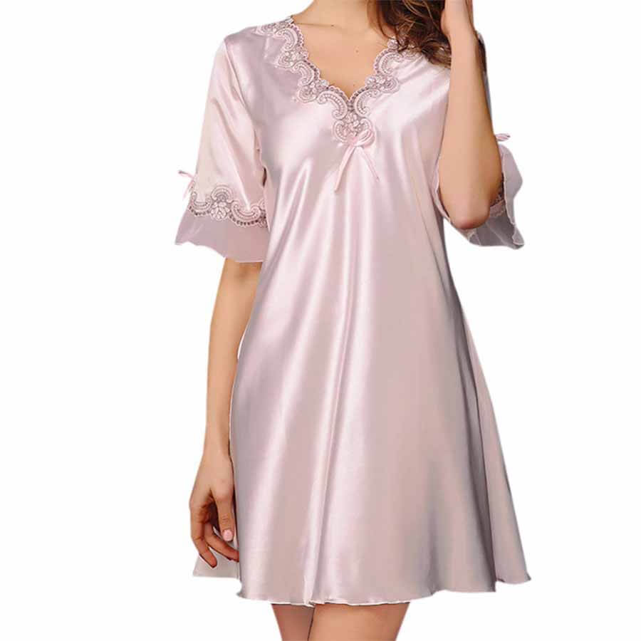 Lingerie Faux Silk Satin Nightgowns Plus Sizes - Luvit Quality Products
