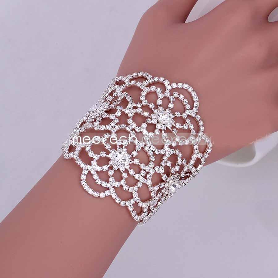 Wide Crystal Bracelet Elegant Lace Design