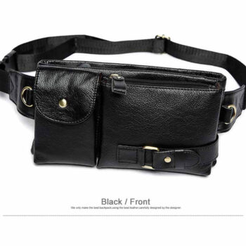Black Genuine Leather Men's Waist Bag