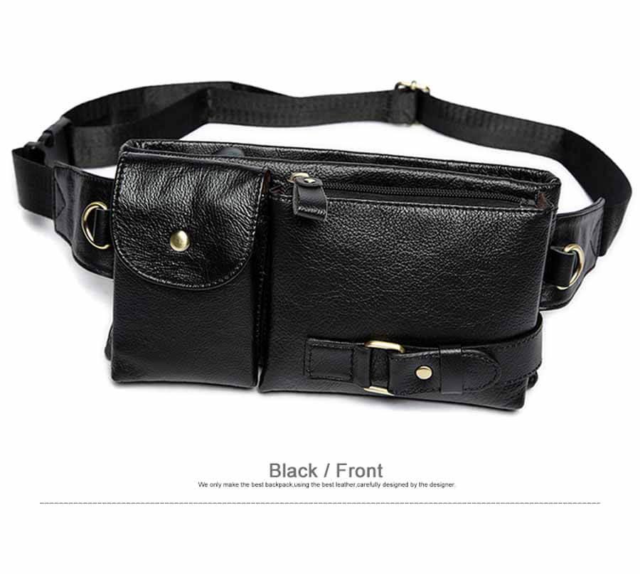 Black Genuine Leather Men's Waist Bag