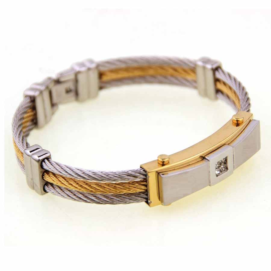 Men's Cable Bracelet Stainless Steel silver and gold