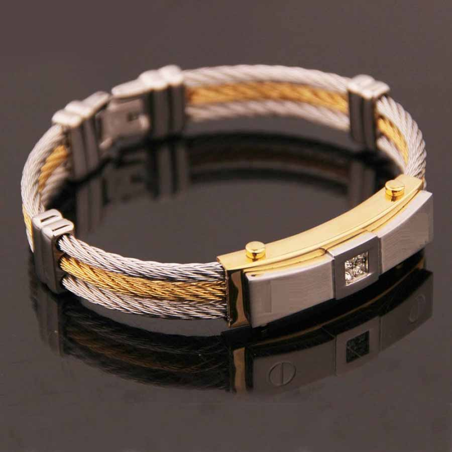 Men's Cable Bracelet Stainless Steel