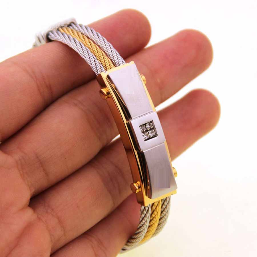 Men's Cable Bracelet Stainless Steel hand