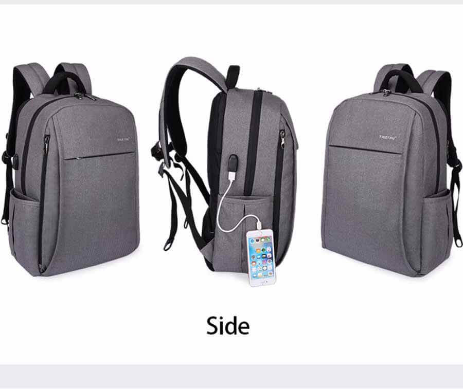 Side Backpack USB Port Anti-theft Compartments