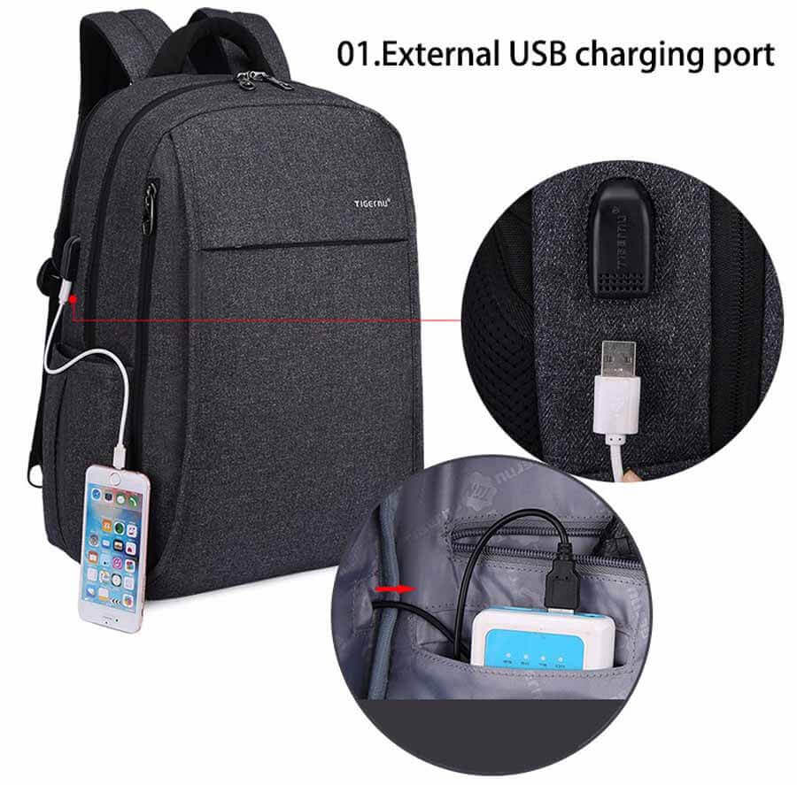 USB Backpack USB Port Anti-theft Compartments