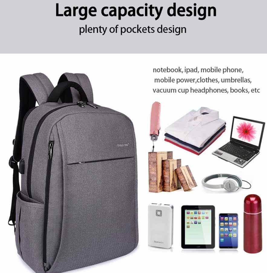 Storage Backpack USB Port Anti-theft Compartments