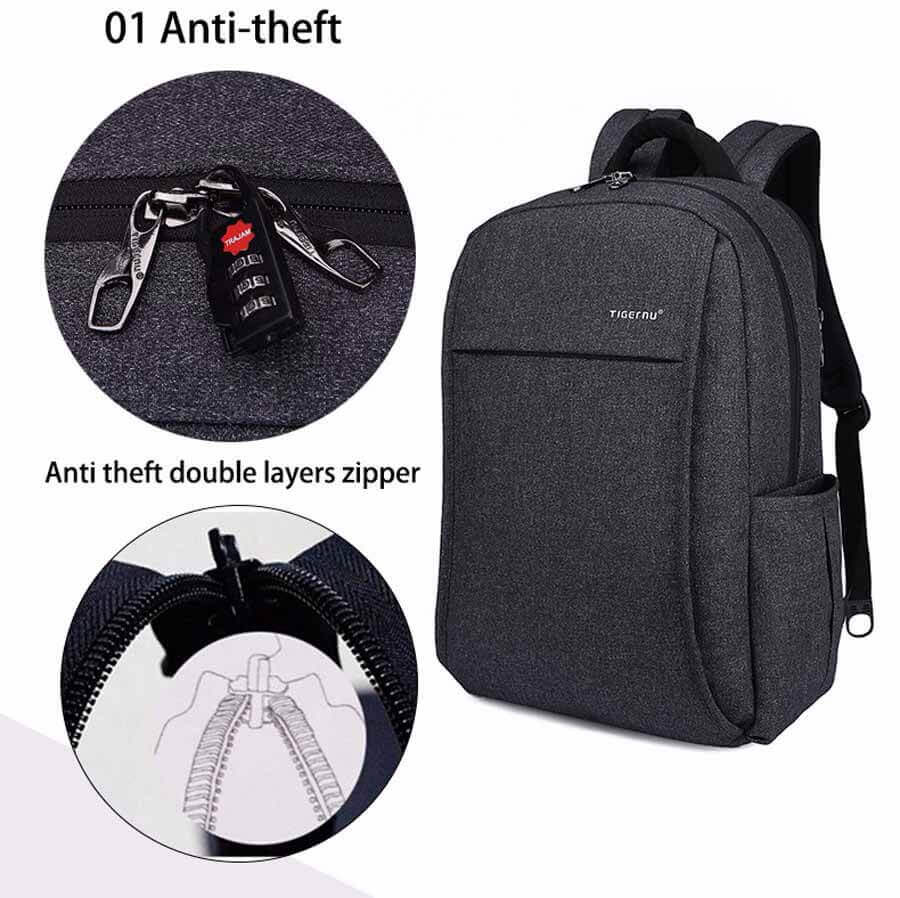 Secure Backpack USB Port Anti-theft Compartments