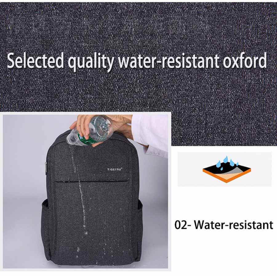Water resistant Backpack USB Port Anti-theft Compartments