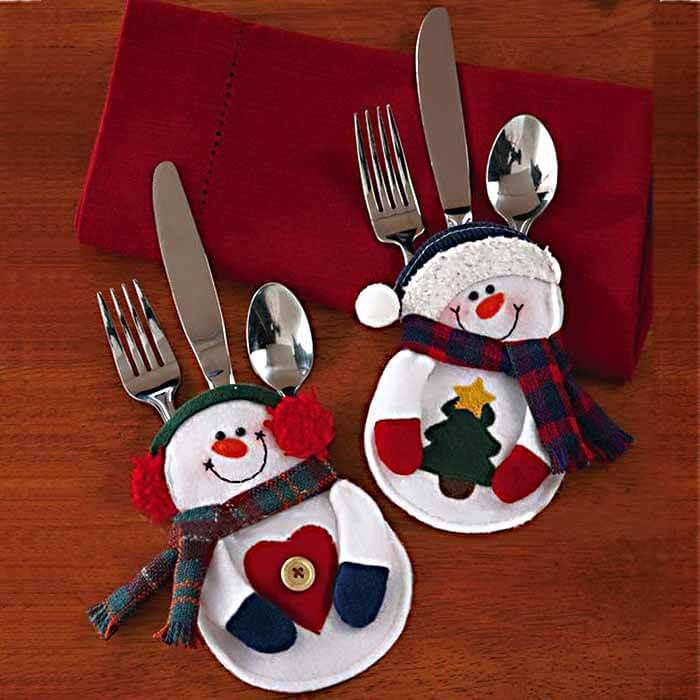 Christmas Decoration Snowman Cutlery Holder