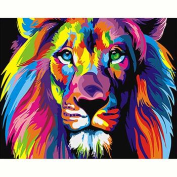 Lion Paint by Number -4 Colorful Abstract Animals DIY