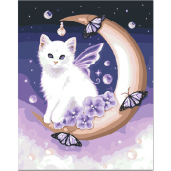 White cat Paint by Number Two Kitten DIY Paintings