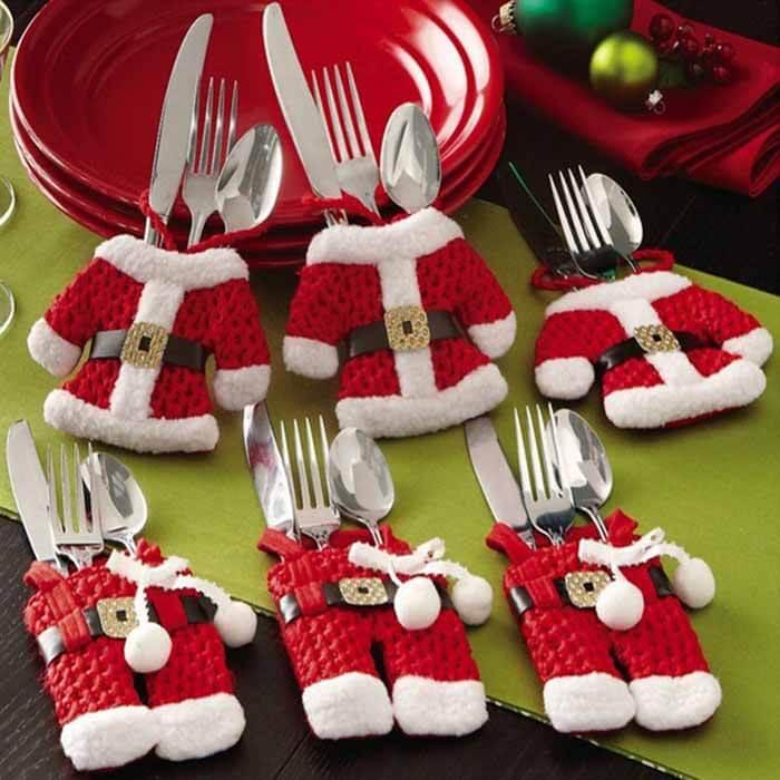 Santa Christmas Silverware Holders