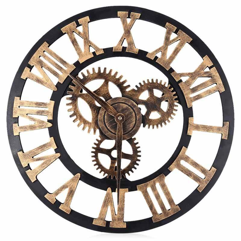 Vintage Digital Silent Gear Wall Clock