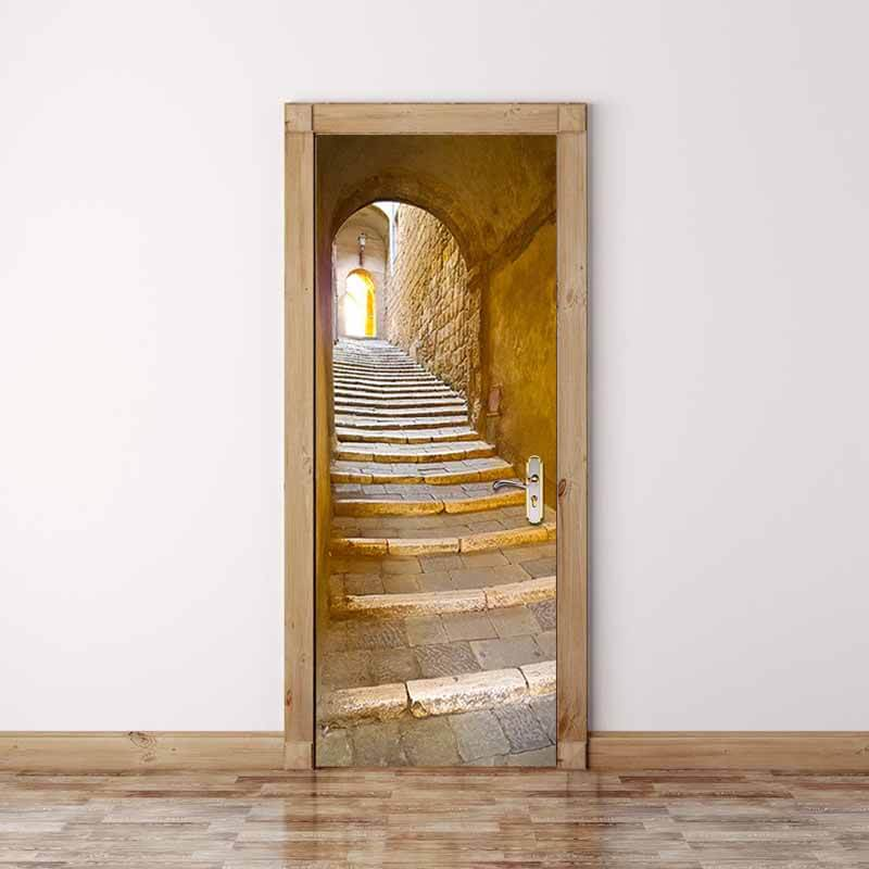 3D Door Mural Stone Steps Self Adhesive