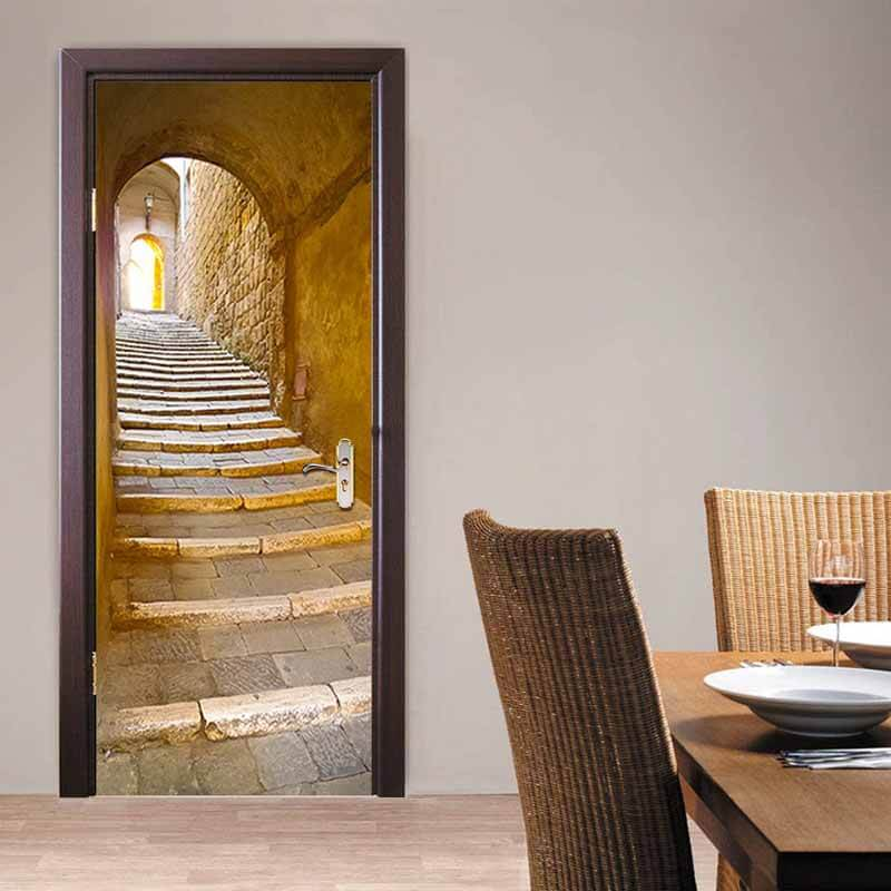 3d door mural stone steps self adhesive luvit quality for Door wall mural