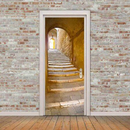 Example 2: 3D Door Mural Stone Steps Self Adhesive