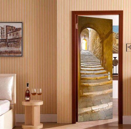 Example: 3D Door Mural Stone Steps Self Adhesive